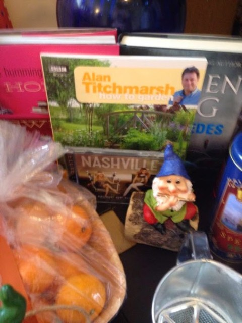 My presents including an Alan Titchmarsh garening book and a gnome for the garden