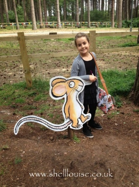 KayCee with the mouse from the gruffalo