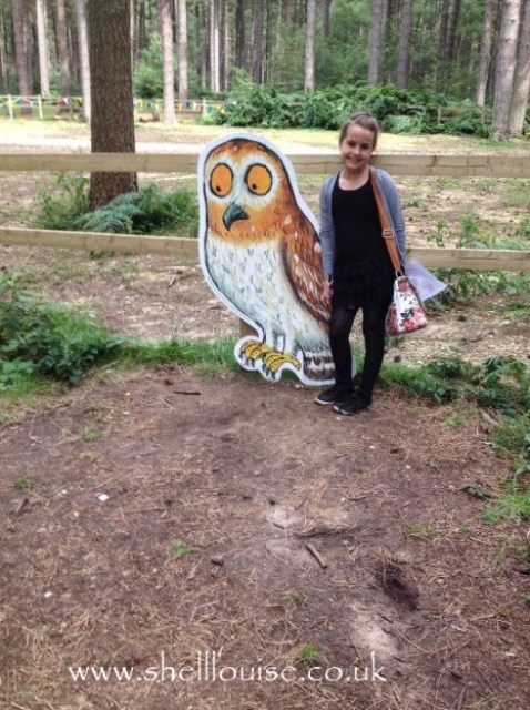 KayCee with the owl from the Gruffalo
