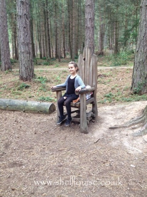 KayCee sitting on a wooden chair in the woods
