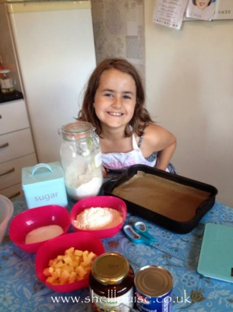 KayCee measured all the ingredients for millionaire shortbread