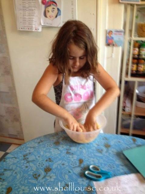 KayCee mixing the ingredients