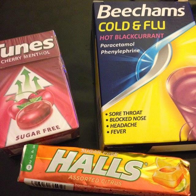 November 2nd - Cold and Flu season - Beechams hot blackurrant, cherry menthol Tunes and Halls Citrus lozenges