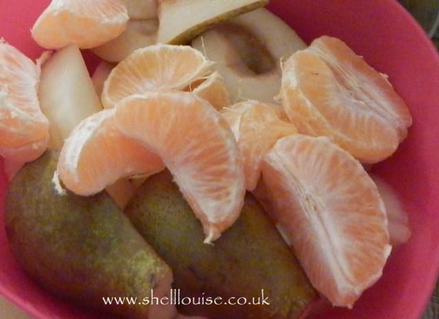 satsuma segments and pears