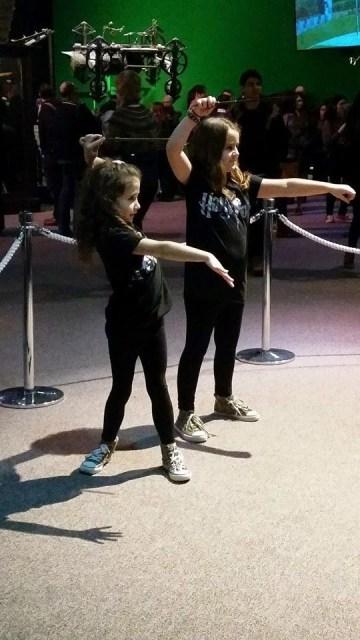 Harry Potter Studio Tour Kaycee and Ella casting spells