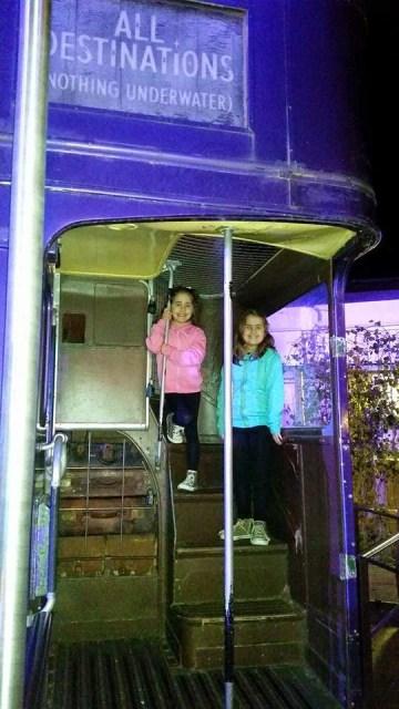 Harry Potter Studio Tour - Kaycee and Ella on the night bus