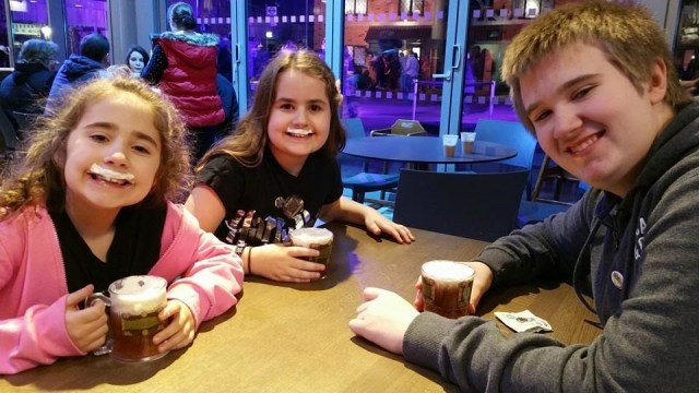 Harry Potter Studio Tour - Aiden, Kaycee and Ella trying butterbeer
