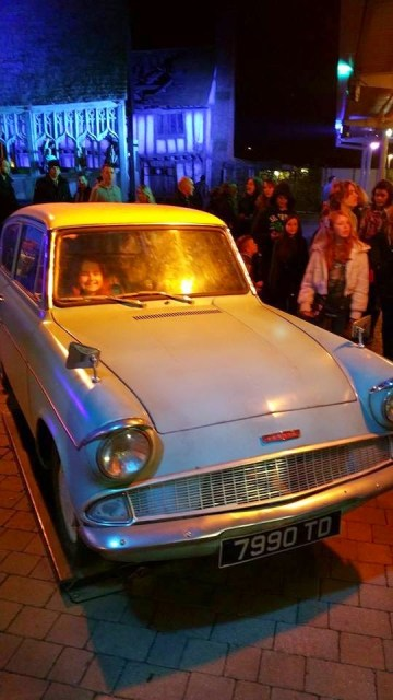 Harry Potter Studio Tour - Kaycee in the flying car