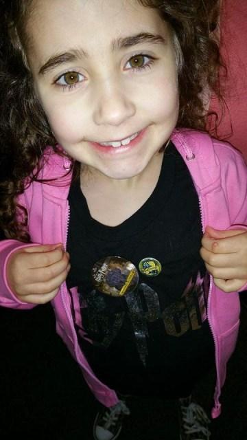 Harry Potter Studio Tour - Ella showing off her badges