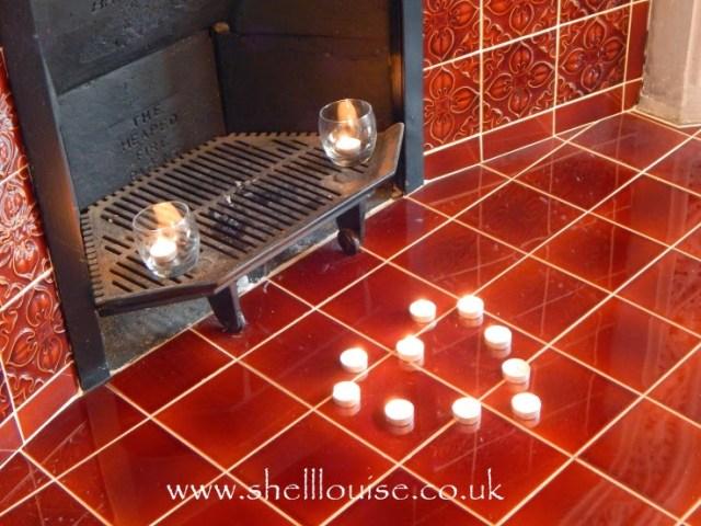 wedding reception - tea lights in a heart shape