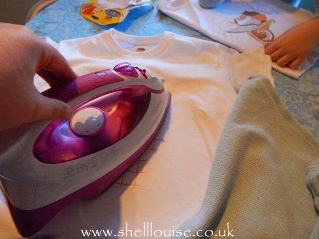 designing t-shirts - ironing on the transfer