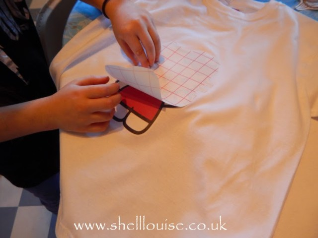designing t-shirts - peeling off the backing paper