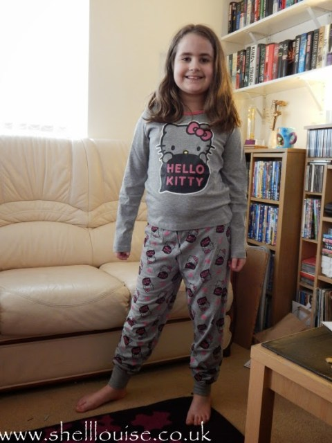 Kaycee wearing her new Hello Kitty pyjamas from Lamaloli