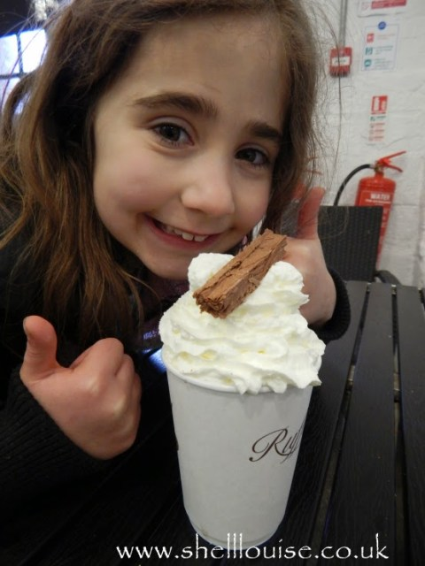 Ella loves her hot chocolate with squirty cream and a flake at Rufford Abbey