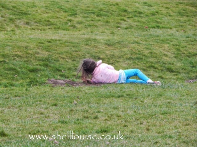 Ella rolling down the hill at Rufford Abbey