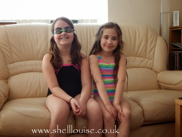 Swimshop review - Kaycee and Ella wearing their new swimming costumes