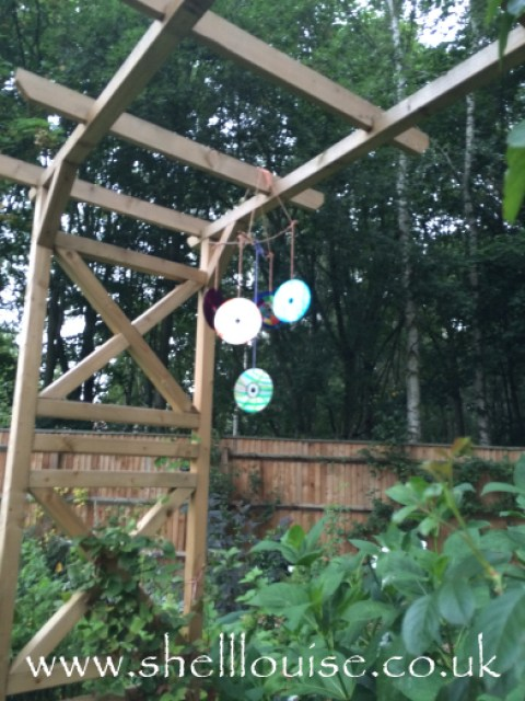 Finished mobile hanging in the garden