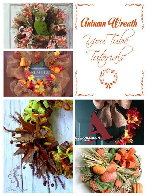 Collage of autumn wreaths