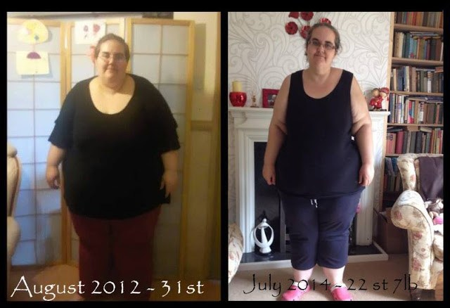 Me at 31 stone in August 2012 then me at 22.5 stone in August 2014