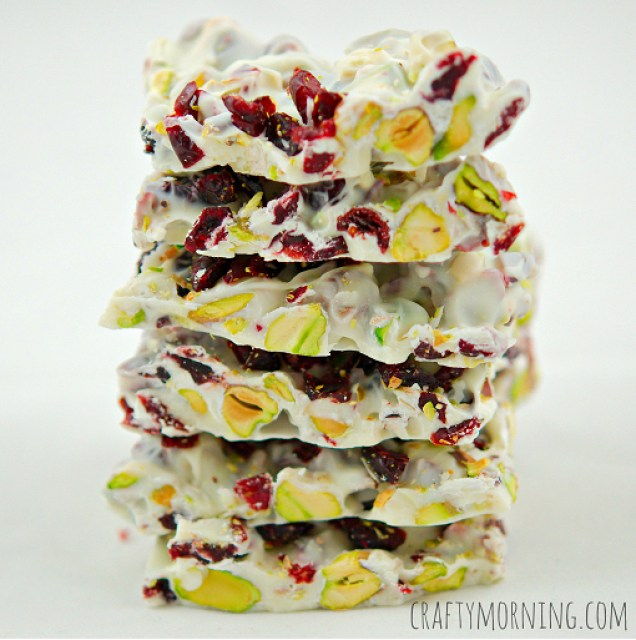 Pistachio and cranberry bark