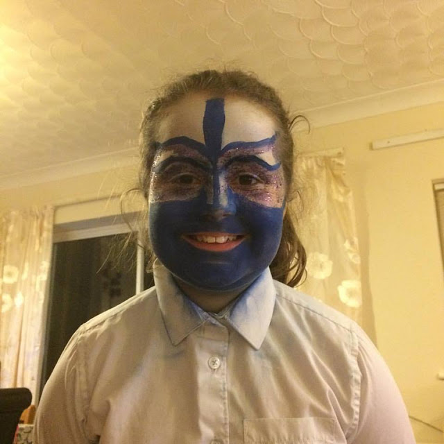 Kaycee in face paint for her performance in The Tempest