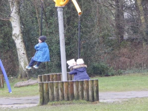 Jake, Ella and Megan on the swings at Hartsholme park
