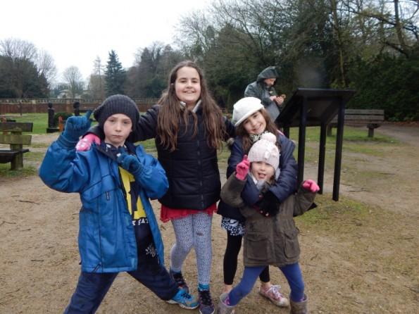 Kaycee, Jake, Megan and Ella at the park at Hartsholme park