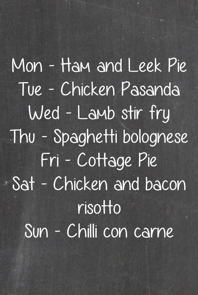 Weekly menu March 28th