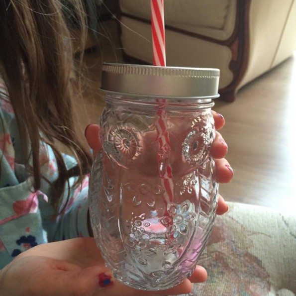 Owl glass with lid and straw - Mother's Day 2016