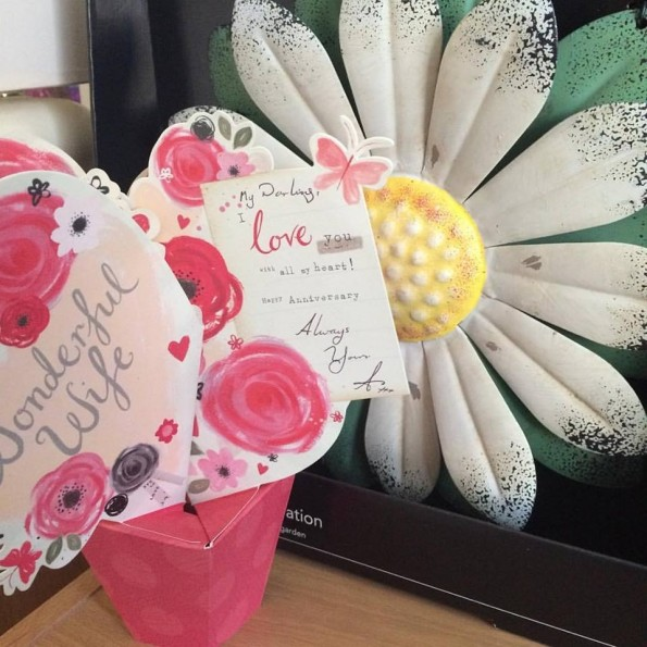Anniversary card and flower wall art