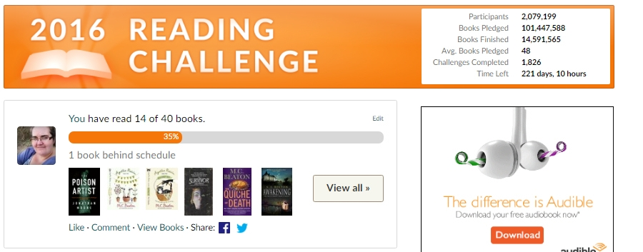 Goodreads reading challenge May 2016