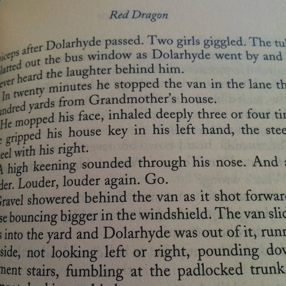 A page in The Red Dragon book by Thomas Harris