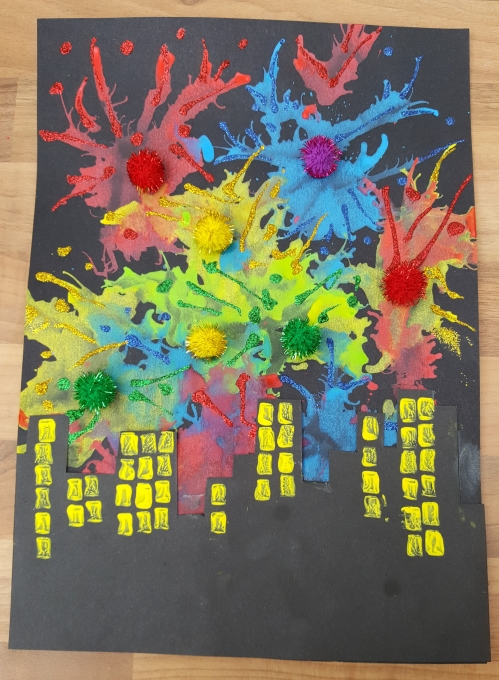 Bostik blow paint firework cityscape