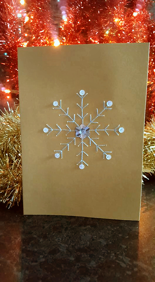 embroidered snowflake card