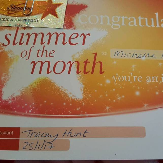 Saturday 28th As & When project - Slimming World Slimmer of the Week certificate