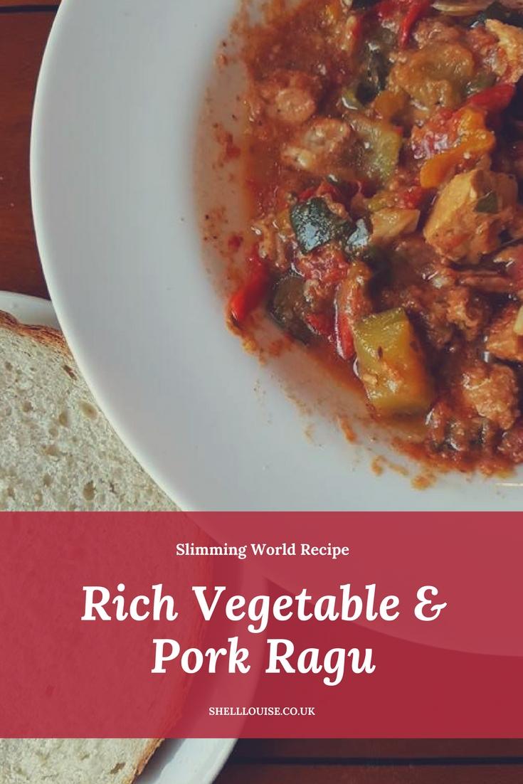 Rich pork and vegetable ragu Slimming World recipe