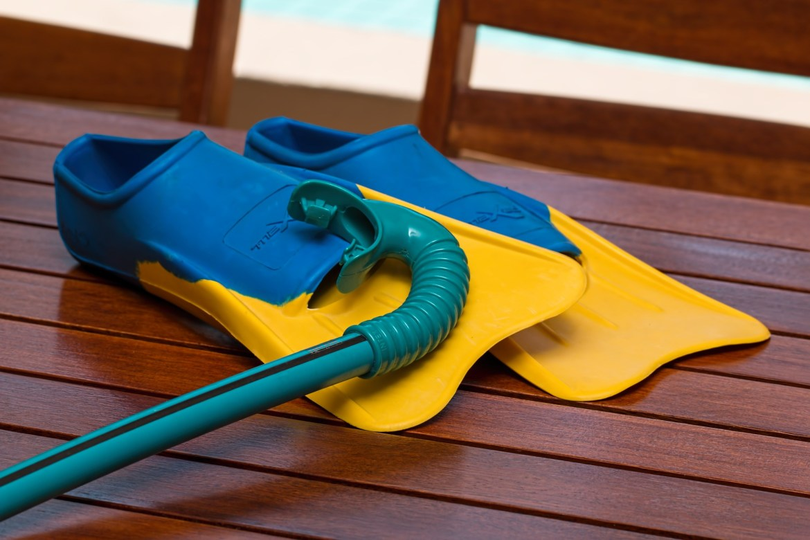 flippers and breathing tube for swimming summer holiday