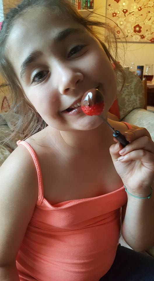 Ella enjoying the chocolate fondue