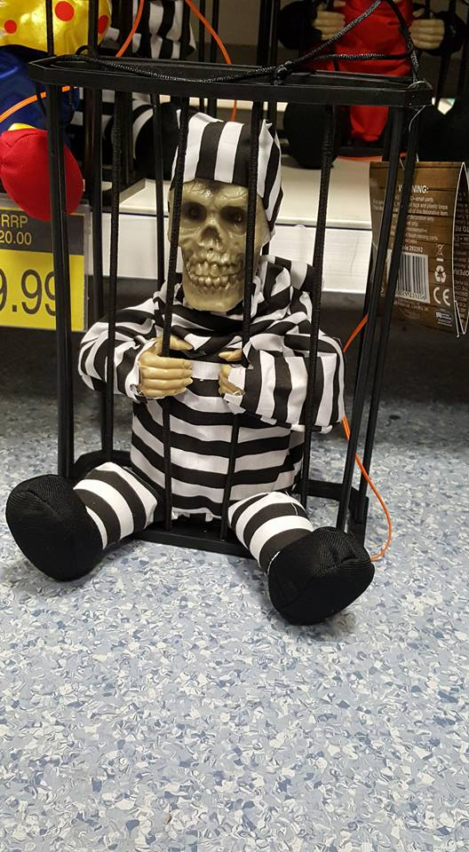 Skeleton in a cage decoration - Halloween plans