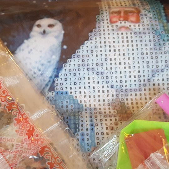 Diamond painting kit. Santa holding an owl - October 1 day 12 pics