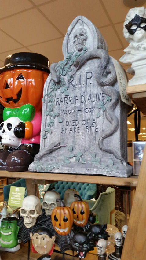 HomeSense Halloween - headstone saying BARRIED D. ALIVE