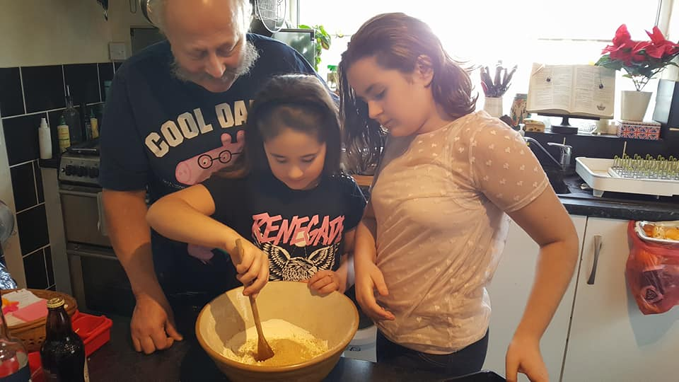 Ant, Kaycee and Ella making our Christmas pudding mix for Stir Up Sunday