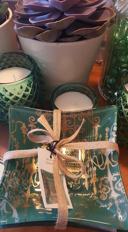 green glass bowls and candles
