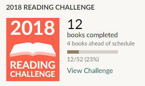 Goodreads reading challenge 2018 - 12 books read