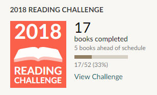Goodreads 2018 reading challenge, 17 books read