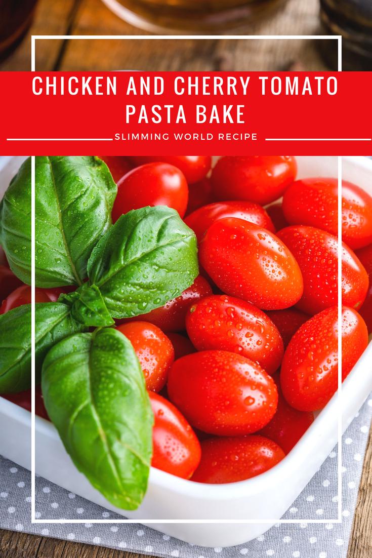 Chicken and cherry tomato pasta bake