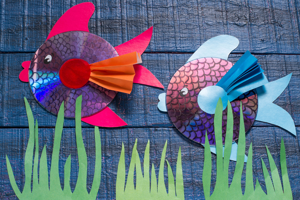 toy fish made from old CDs