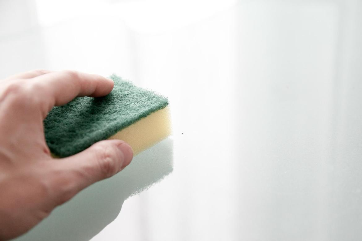 cleaning with a sponge
