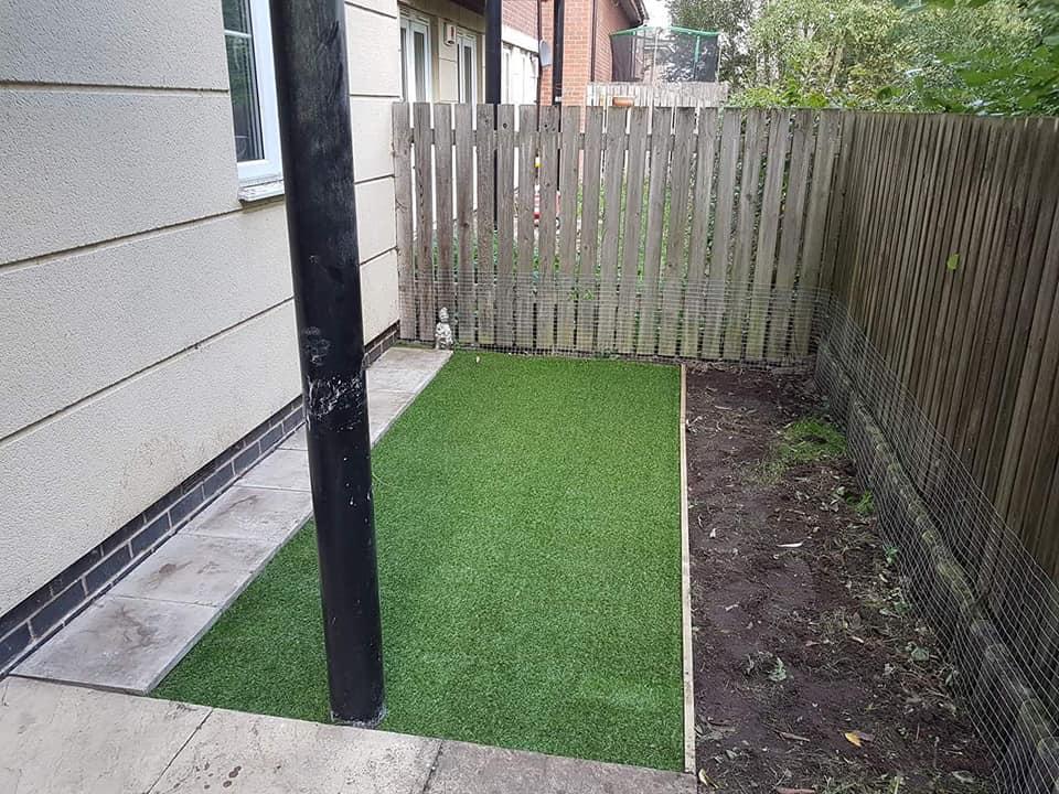 Granddad's garden with new artificial grass