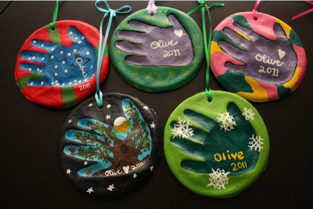 salt dough handprint Christmas ornaments from Olive Juice Mama